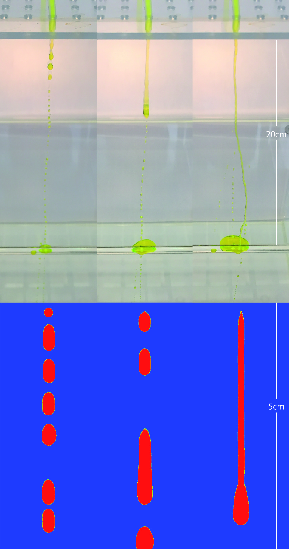 Laboratory flow experiments and SPH simulations of droplet and rivulet flows at a fracture intersection